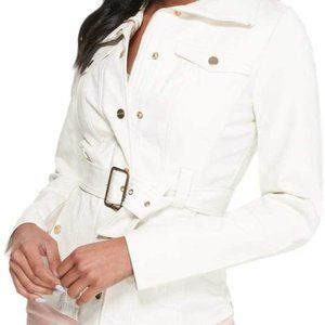 GUESS Faux Leather Belted Jacket